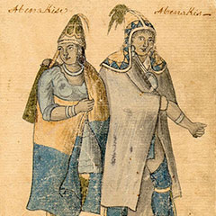 Drawing of two Abenakis wearing fabric clothes and pointed hats.