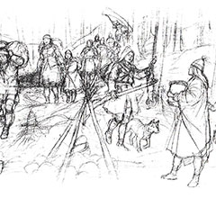 Black and white drawing of a dozen Abenakis travelling lined up behind each other. Most of them carry various baggage while others carry a canoe. A dog walks with them.