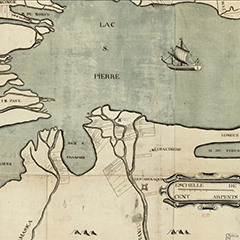 Map of Lake St. Pierre showing a part of the Saint-Francois River. The Crevier fort and the Fort d'Odanak also appear on the map.