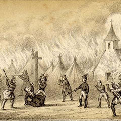 Illustration of a Jesuit father kneeling by a cross. About fifty armed men are surrounding him. Behind them, the village is on fire.