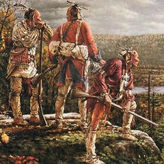 Illustration showing Abenaki warriors monitoring a fortress.