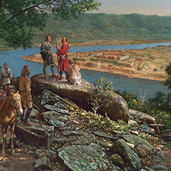 Painting of a river where members of the First Nations watch a fort from the shore.