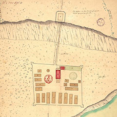 Color plan of the Fort d'Odanak. There are 19 longhouses, a church with its outbuildings and a path leading to a redoubt.