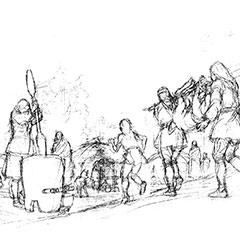 This drawing shows Abenakis working on the transformation of products from hunting and plant gathering.